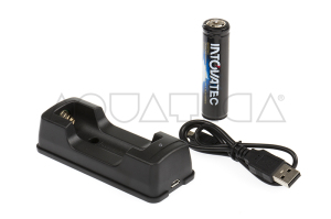 Caricabatterie USB Intova con Batteria Ricaricabile Li-ion 18650 3,7V 2200mAh